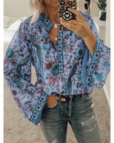 Bule Peacock print loose shirt button long sleeve shirt