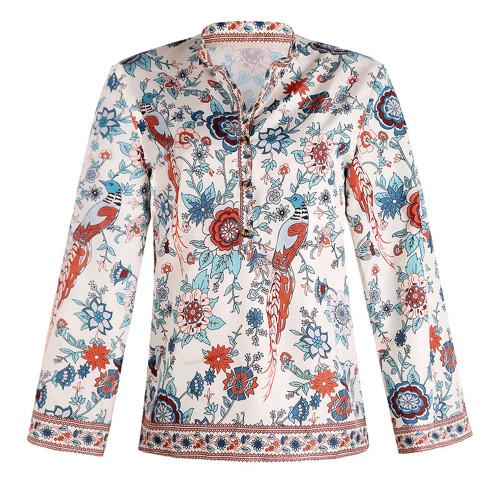 Apricot Peacock print loose shirt button long sleeve shirt