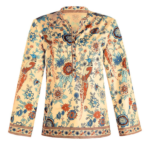 Orange Peacock print loose shirt button long sleeve shirt