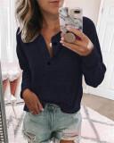 Dark bule Solid color open button long-sleeved shirt T-shirt
