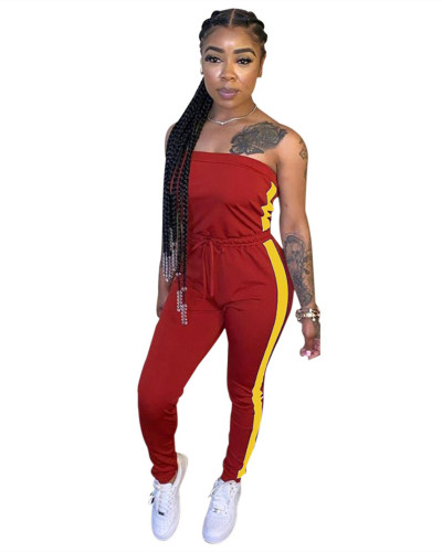 Red Personalized slim mid-waist tie jumpsuit