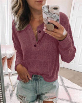 Violet Solid color open button long-sleeved shirt T-shirt