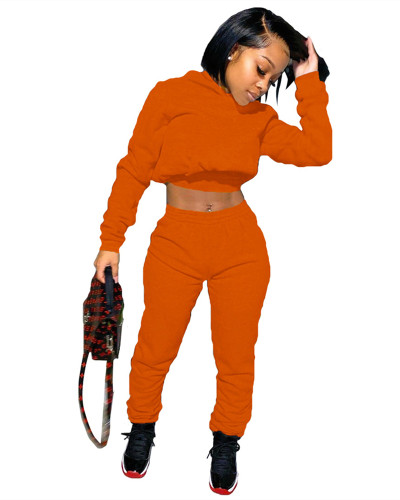 Orange Fashion casual sweater two-piece suit