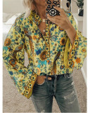 Yellow Peacock print loose shirt button long sleeve shirt