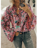 Dark pink Peacock print loose shirt button long sleeve shirt