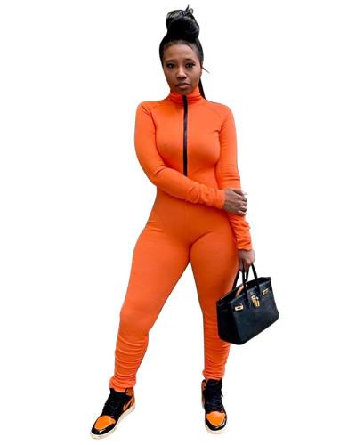 Orange Solid color zipper pleated jumpsuit