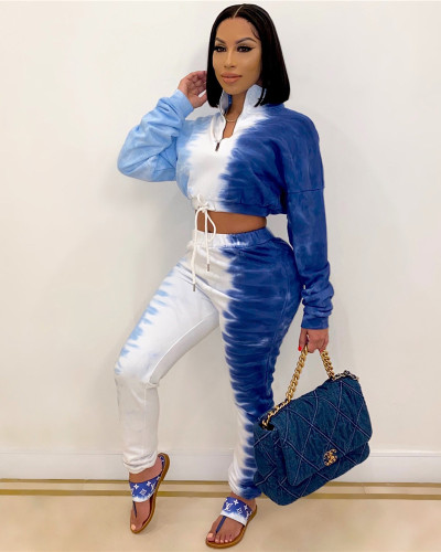 Blue Fashion casual sweater printing two-piece suit