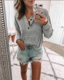 Gray Solid color open button long-sleeved shirt T-shirt