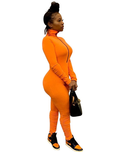 Orange Solid color zipper pleated jumpsuit