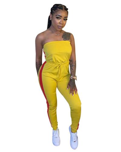 Yellow Personalized slim mid-waist tie jumpsuit