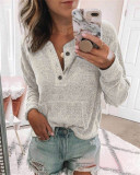 Light gray Solid color open button long-sleeved shirt T-shirt