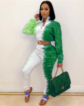 Green Fashion casual sweater printing two-piece suit