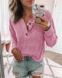 Pink Solid color open button long-sleeved shirt T-shirt
