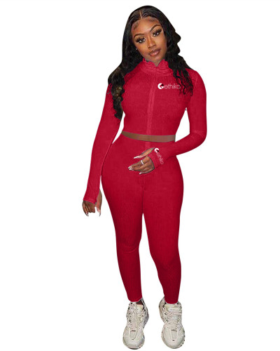 Red New embroidery slim sports suit