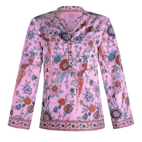 Violet Peacock print loose shirt button long sleeve shirt