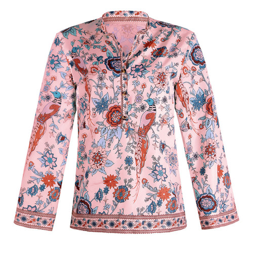 Pink Peacock print loose shirt button long sleeve shirt