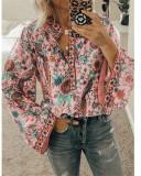 Pink Peacock print loose shirt button long sleeve shirt