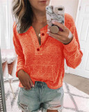 Orange Solid color open button long-sleeved shirt T-shirt