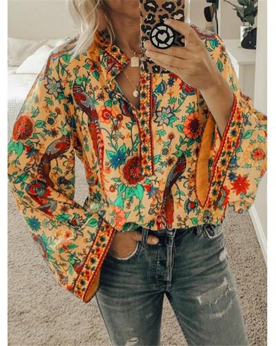 Orange Peacock print loose shirt button long sleeve shirt