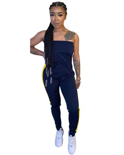 Black Personalized slim mid-waist tie jumpsuit