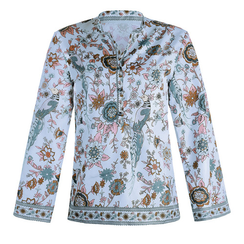 Bule Peacock print loose shirt button long sleeve shirt