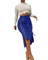 Blue Sexy split mid-length slim-fit lace-up skirt