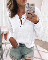 White Solid color open button long-sleeved shirt T-shirt