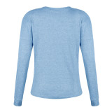 Bule Solid color open button long-sleeved shirt T-shirt