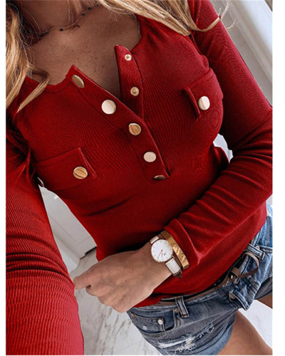Claret Solid color long-sleeved bottoming shirt sweater top