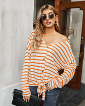 Orange Striped T-shirt Knit Top