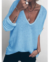 Bule Casual loose long sleeve V-neck printed T-shirt