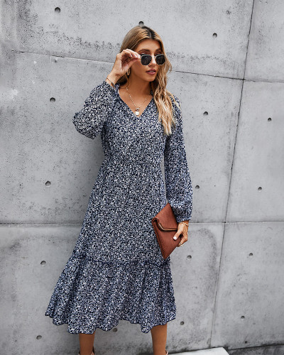Blue Tunic Long Sleeve Floral Dress