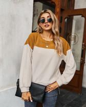 Brown Color block sweatshirt long sleeve T-shirt