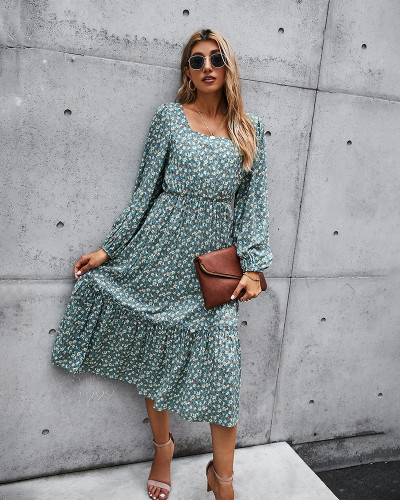 Green New product retro square collar long dress