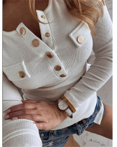 White Solid color long-sleeved bottoming shirt sweater top