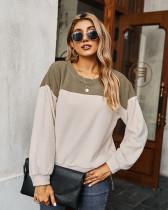 Light Brown Color block sweatshirt long sleeve T-shirt