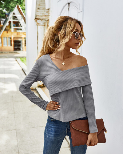 Gray Sexy off-shoulder long-sleeved T-shirt
