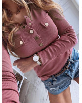 Violet Solid color long-sleeved bottoming shirt sweater top