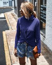 Blue Turtleneck solid color sweater