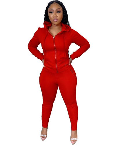 Red Two-piece suit with personalized zipper