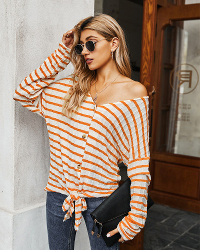 Orange Striped T-shirt Knit Top