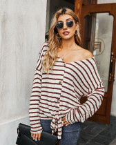 Red Striped T-shirt Knit Top