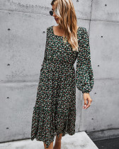 Black New product retro square collar long dress