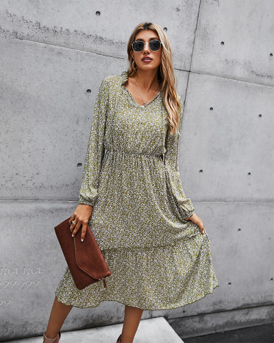 Green Tunic Long Sleeve Floral Dress