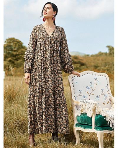 Fashion long skirt mid-length printed dress