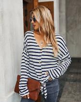 Blue Striped T-shirt Knit Top