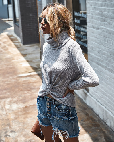 Turtleneck solid color sweater