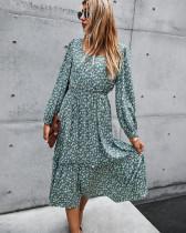 Green New product retro square collar long dress