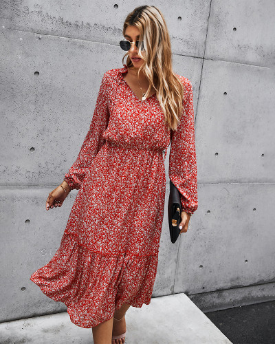Pink Tunic Long Sleeve Floral Dress
