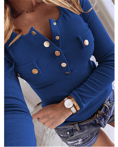 Bule Solid color long-sleeved bottoming shirt sweater top